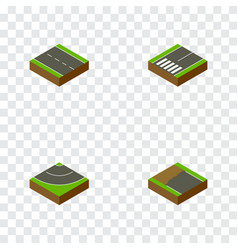 Isometric way set of footpassenger incomplete vector