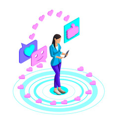 isometry girl watching a video on a social network vector image