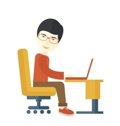 Japanese guy sitting infront his computer vector image