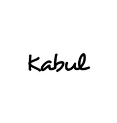 Kabul city handwritten word text hand lettering vector