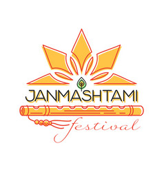 Krishna janmashtami festival concept logo design vector