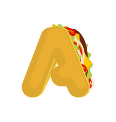 Letter a tacos mexican fast food font taco vector