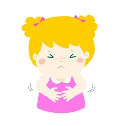 Little girl having stomach ache cartoon vector