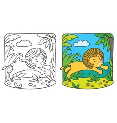 Little lion coloring book vector