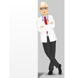 male doctor leaning against a blank board vector image