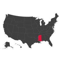 map of usa - mississippi vector image
