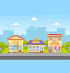 Market pets shop bakery buildings facades view vector