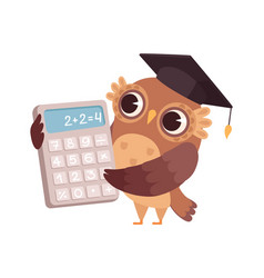 mathematic teacher owl with calculator bird vector image