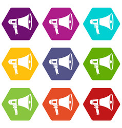 megaphone icon set color hexahedron vector image