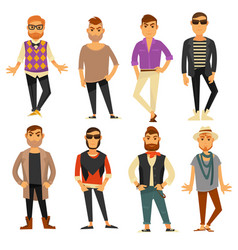 Men in different casual fashion clothes styles vector