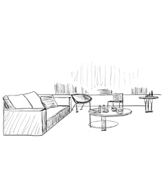 Modern interior room sketch Living vector