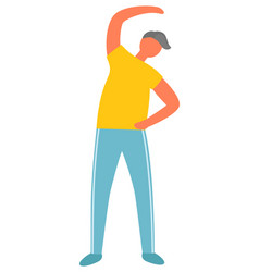 Morning exercise and fitness man bending over vector
