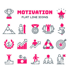 Motivations outline icons set vector