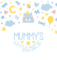 mummy little prince card templates set baboy vector image