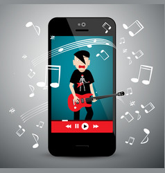 music app on cellphone rock guitar player with vector image
