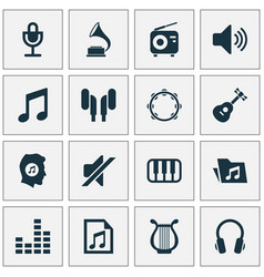 Music icons set collection of earmuff equalizer vector