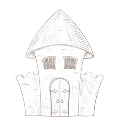 Old castle hand drawn sketch vector