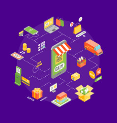 online shopping round design template vector image