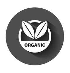 organic label badge icon in flat style eco bio vector image