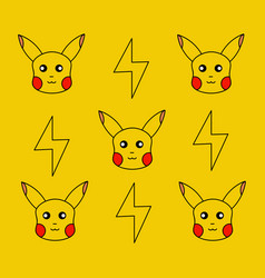 Pattern design character pokemon go on yellow vector