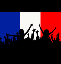 people silhouettes celebrating france national day vector image