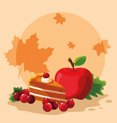 pie with apple for thanksgiving day vector image