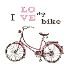 poster with hand drawn bicycle vector image