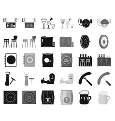 Pub interior and equipment blackmonochrome icons vector