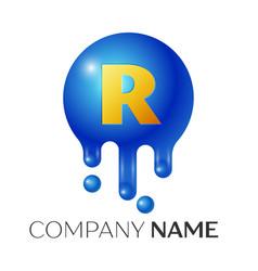 r letter splash logo blue dots and bubbles letter vector image