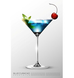 Realistic blue lagoon cocktail glass template vector