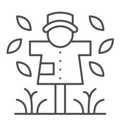 Scarecrow thin line icon garden doll vector