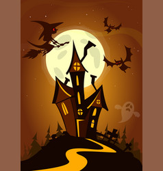 Scary house on night background cartoon vector
