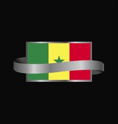 Senegal flag ribbon banner design vector