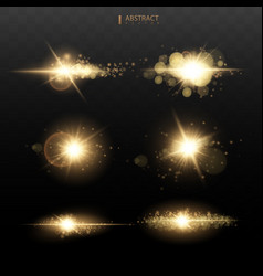 set shining star sun particles and sparks vector image