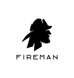Silhouette of fireman abstract design template vector