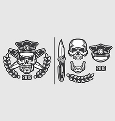 Skull Policeman Head in Cap with Crossed Knives vector image