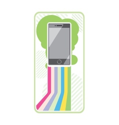 Smartphone on stylish background bands of lines vector
