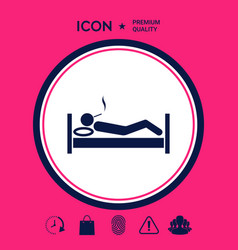 Smoking in bed icon vector