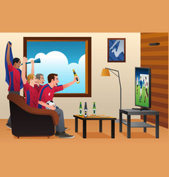 Soccer fans watching tv vector