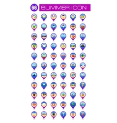 Summer pin map icon Summertime Vacation vector