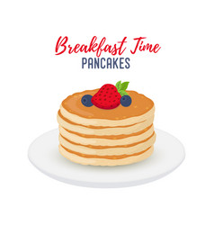 tasty pancakes with berries on white plate vector image