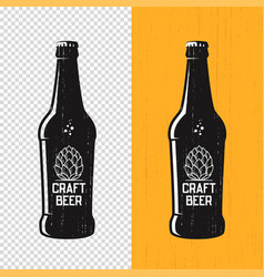 Textured craft beer bottle label design vector