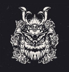 Vintage monochrome owl samurai concept vector