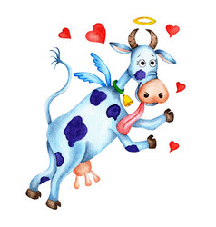 Watercolor funny blue cow with angel wings a halo vector