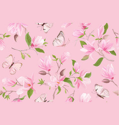watercolor magnolia floral seamless pattern vector image