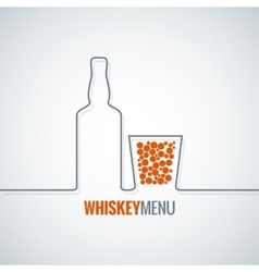 Whiskey glass bottle line design background vector