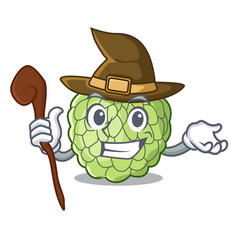 Witch fresh custard apple sweet fruit cartoon vector
