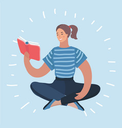 Woman reading textbook icon vector
