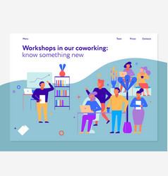 Workshops in coworking page design vector