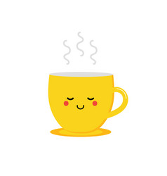 Yellow cup character with steaming hot tea coffee vector